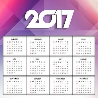 Calendario poligonal de año nuevo 2017