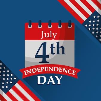 Calendario recordatorio banderas día de la independencia americana