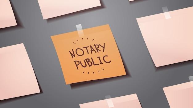 Calendario recordatorio junta notario escrito en papel de nota adhesiva de firma y legalización de documentos concepto horizontal