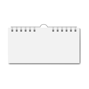 Calendario rectangular realista en blanco en espiral