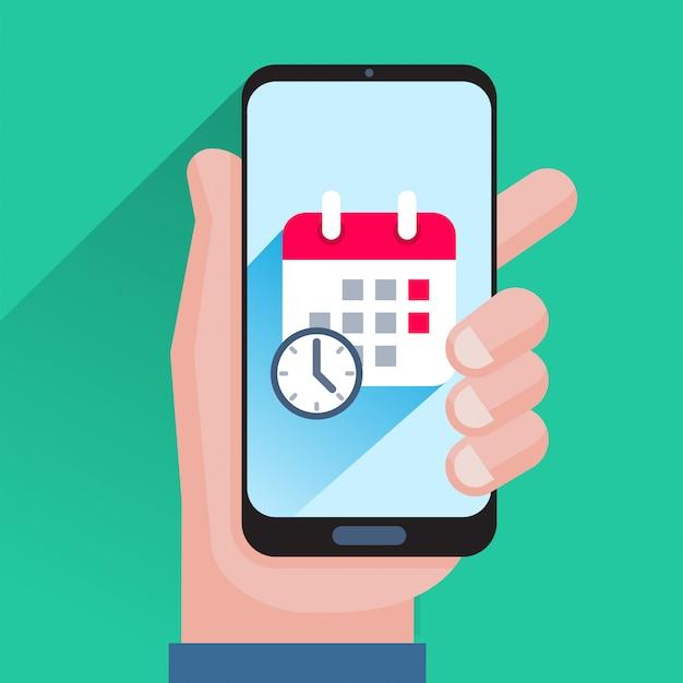 Calendario y reloj en la pantalla del teléfono inteligente