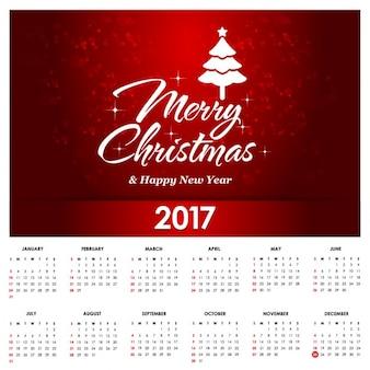 Calendario rojo navideño para 2017