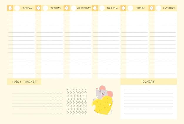 Calendario semanal y rastreador de hábitos con plantilla de vector plano de ratoncito.