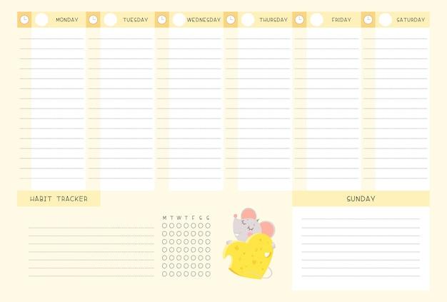 Calendario semanal y rastreador de hábitos con plantilla de vector plano de ratoncito
