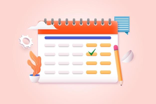 Calendario con signo de verificación 3d web