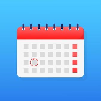 Calendario simple de estilo plano ilustración de vector de vacaciones fondo de vector