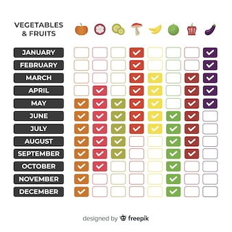 Calendario tabla de verduras y frutas estacionales
