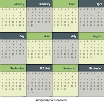 Calendario en tonos verdes