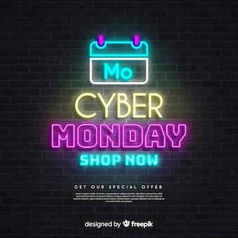 Calendario de ventas del lunes cibernético en luces de neón