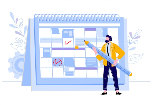 Calendario de verificación de empresario. hombre con lápiz de planificación de eventos de trabajo en el planificador, plan de día de trabajador de negocios y organización de eventos calendario ilustración. organizador de negocios, flujo de trabajo de programación