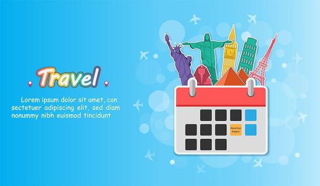 Calendario de viajes alrededor del mundo.