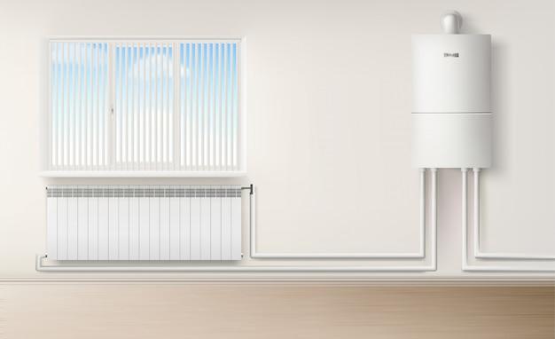 Calentador de agua de caldera en pared conectado con radiador