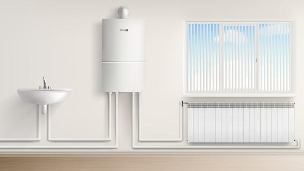 Calentador de agua con radiador y lavabo.