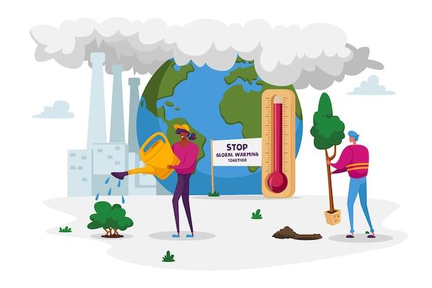 Calentamiento global contaminación ambiental impacto del calentamiento global personajes cuidado de las plantas verdes