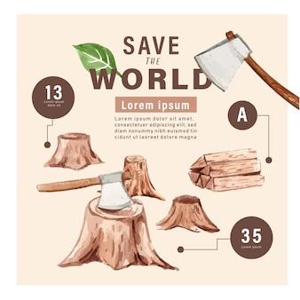 Calentamiento global y contaminación, salvar el mundo, estadísticas de datos infográficos presentes