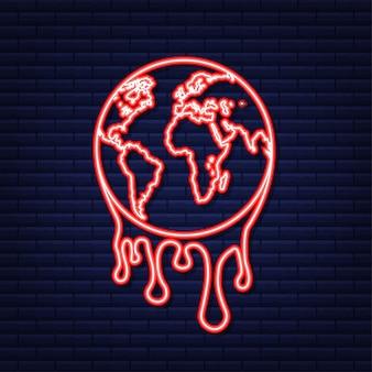 Calentamiento global, ilustración gráfica de una tierra que se derrite. icono de neón.