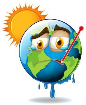 Calentamiento global con tierra derritiéndose