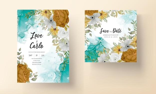 Cálida tarjeta de invitación de boda de flores de otoño