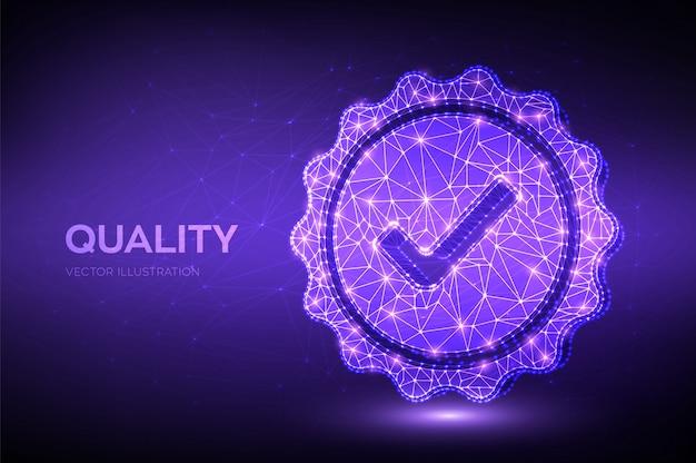 Calidad. verificación de icono de baja calidad poligonal. garantía de certificación de control de calidad estándar.