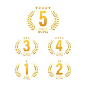 Calificación de 5 estrellas. insignia con iconos sobre fondo blanco. ilustración.