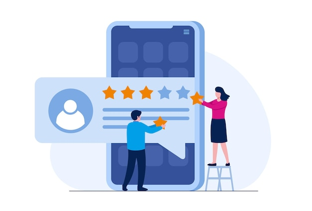 Calificación de la aplicación. reseñas de clientes y usuarios 5 estrellas. sistema de clasificación de sitios web, comentarios positivos, evaluar votos. ilustración vectorial plana