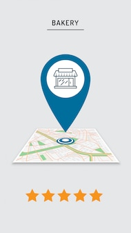 Calificación de cafetería, restaurante, tienda, pin de tienda en el mapa de la ciudad en la aplicación móvil