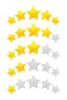 Calificación de cinco estrellas. diferentes rangos de una a cinco estrellas. estrellas doradas en relieve y gris transparente.