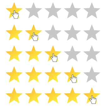 Calificación de cinco estrellas. icono de cursor establecer calificación de una a cinco estrellas.