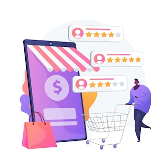 Calificación y comentarios de los usuarios. comentarios de clientes icono web de dibujos animados. comercio electrónico, compras en línea, compras por internet. métricas de confianza, producto mejor valorado. ilustración de metáfora de concepto aislado de vector