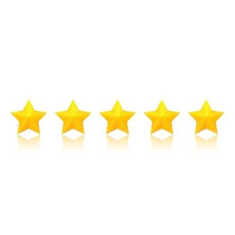Calificación de estrellas doradas con reflejo.