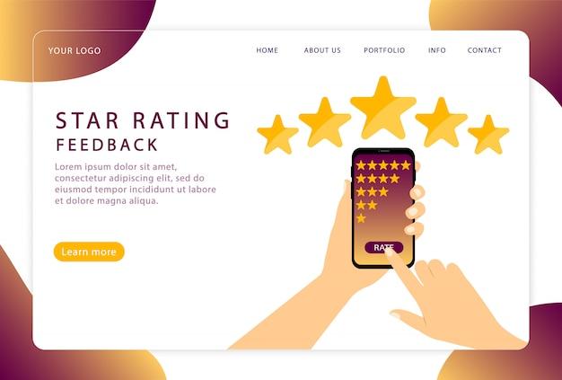 Calificación de estrellas. retroalimentación. valoración de los clientes. página de destino. páginas web modernas para sitios web.