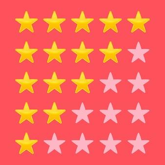 Calificación de estrellas vota como ranking.
