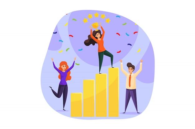 Calificación, éxito, celebración, logro de objetivos, comentarios, ganancias, trabajo en equipo, concepto de negocio