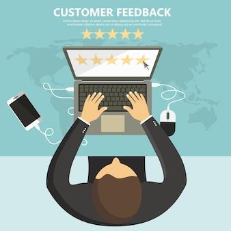 Calificación en la ilustración de servicio al cliente.