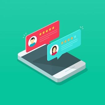 Calificación de revisión en teléfono móvil
