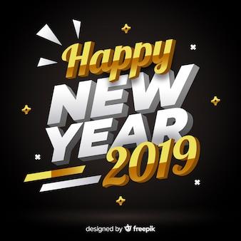 Caligrafía año nuevo 2019 en 3d