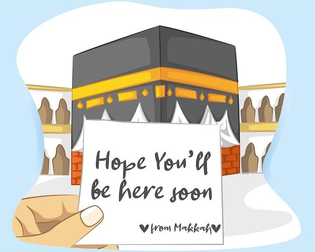 Caligrafía árabe hajj para saludo islámico con kaaba