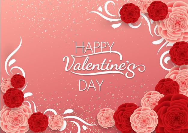 La caligrafía feliz del día de tarjeta del día de san valentín en fondo rosado con rojo se levantó