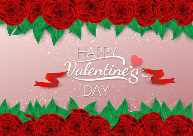 Caligrafía feliz del día de tarjeta del día de san valentín en fondo rosado con la rosa y la cinta del rojo