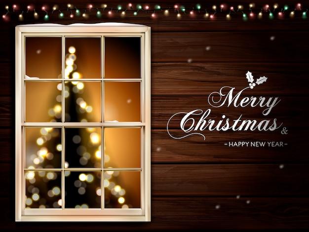 Caligrafía de feliz navidad en la pared de la cabina