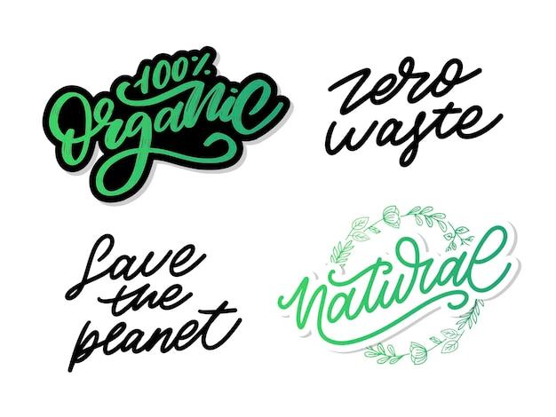 Caligrafía de lema de ilustración de sello de letras vectoriales de conjunto natural 100