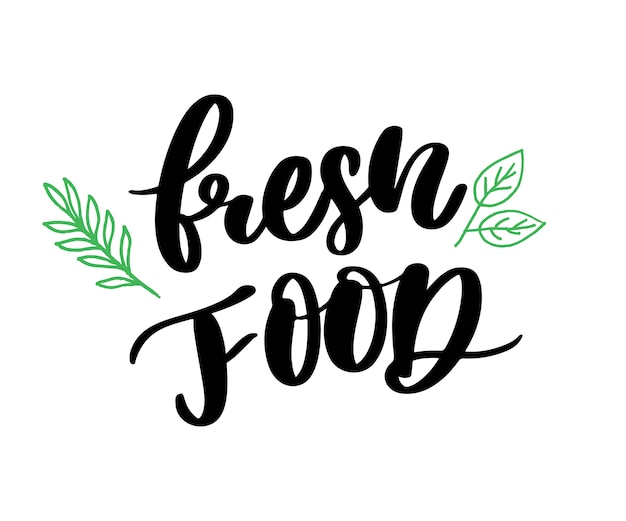 Caligrafía de letras de alimentos frescos sello de goma verde