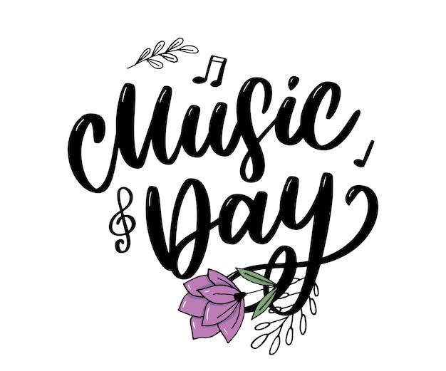 Caligrafía de letras del día mundial de la música