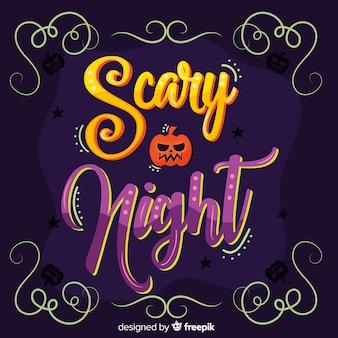Caligrafía de noche de miedo de halloween