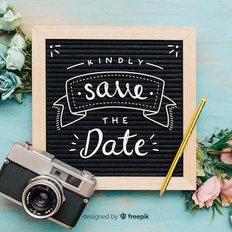 Caligrafía de reservar la fecha