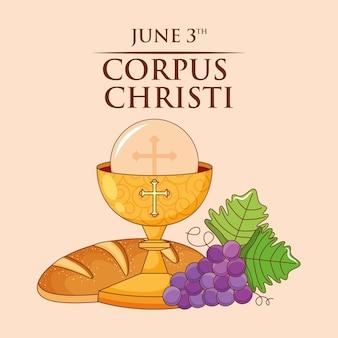 Cáliz con pan y dibujos animados de uva. tarjeta de corpus christi