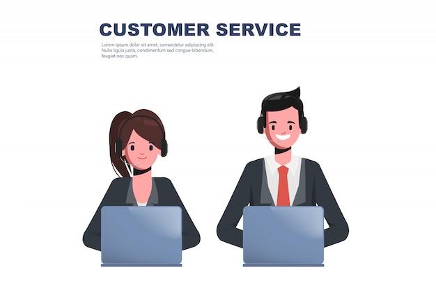 Call center con auriculares de servicio al cliente de trabajo de carácter.