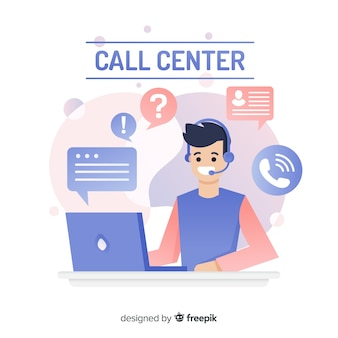 Call center concepto de diseño plano.