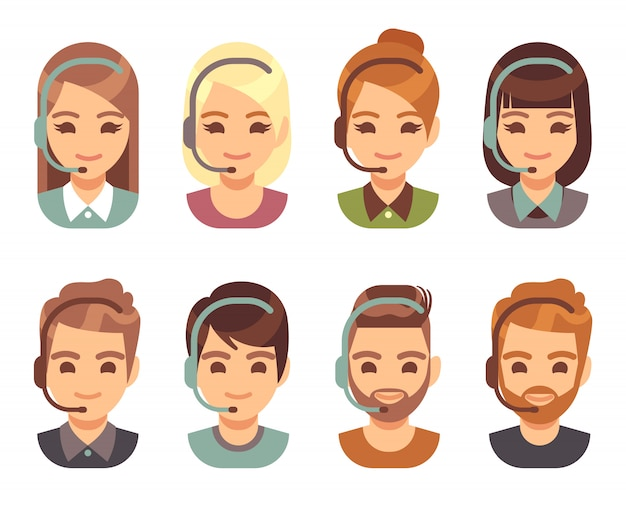 Call center hombre y mujer operador avatares de negocios. cartoon personas agente caras con auriculares.