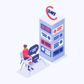 Call center manager, operador de línea directa de personajes en 3d